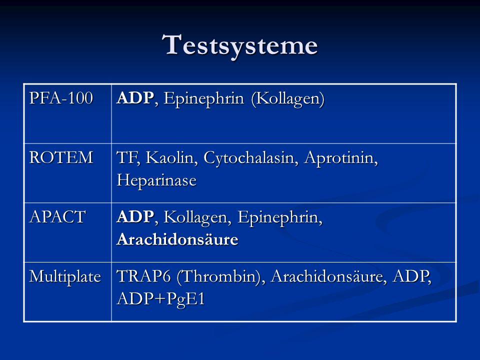 Testsysteme PFA-100 ADP, Epinephrin (Kollagen) ROTEM TF, Kaolin, Cytochalasin, Aprotinin, Heparinase APACT ADP, Kollagen, Epinephrin, Arachidonsäure M