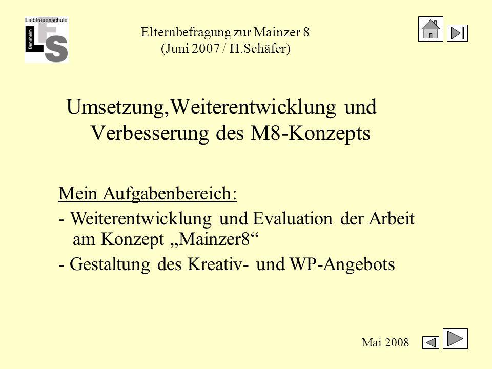 Elternbefragung zur Mainzer 8 (Juni 2007 / H.Schäfer) Mai 2008 Im Vergleich zu Geschwistern in M9: Verzicht auf außerschulische Tätigkeiten neingeringer Umfang deutlichnicht vergleichbar 5 HTS10 01 5 GTS213304 6 HTS79103 6 GTS0675 1.