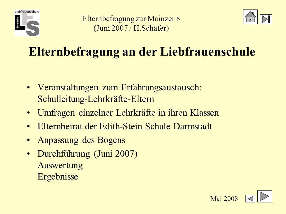 Elternbefragung zur Mainzer 8 (Juni 2007 / H.Schäfer) Mai 2008 Ergebnisse der Elternbefragung Beteiligung1.