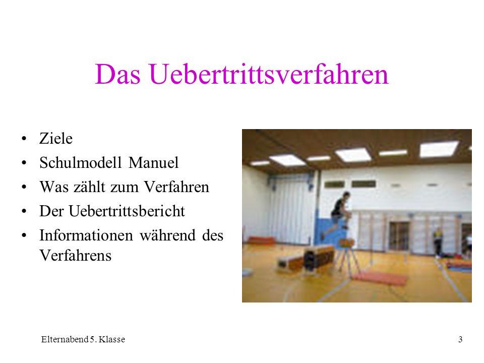 Elternabend 5. Klasse3 Das Uebertrittsverfahren Ziele Schulmodell Manuel Was zählt zum Verfahren Der Uebertrittsbericht Informationen während des Verf