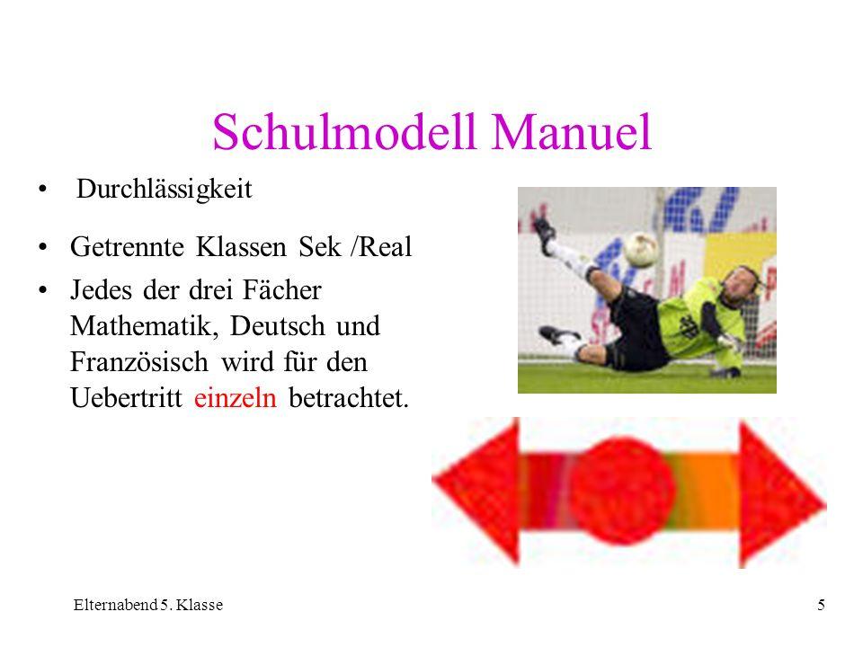 Elternabend 5. Klasse5 Schulmodell Manuel Getrennte Klassen Sek /Real Jedes der drei Fächer Mathematik, Deutsch und Französisch wird für den Uebertrit