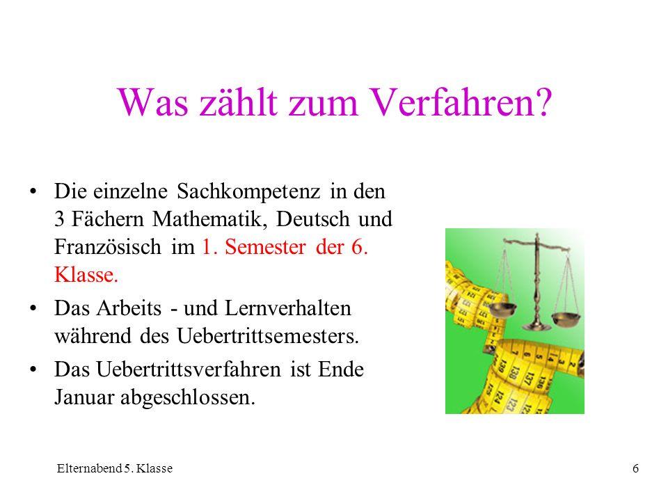 Elternabend 5. Klasse6 Was zählt zum Verfahren? Die einzelne Sachkompetenz in den 3 Fächern Mathematik, Deutsch und Französisch im 1. Semester der 6.