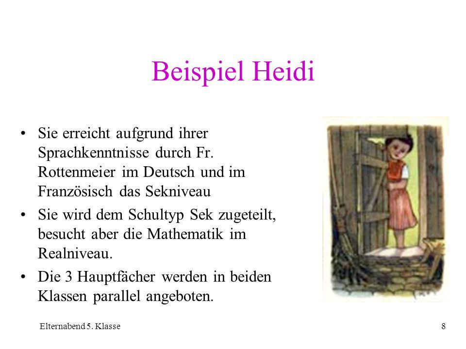 Elternabend 5. Klasse8 Beispiel Heidi Sie erreicht aufgrund ihrer Sprachkenntnisse durch Fr. Rottenmeier im Deutsch und im Französisch das Sekniveau S