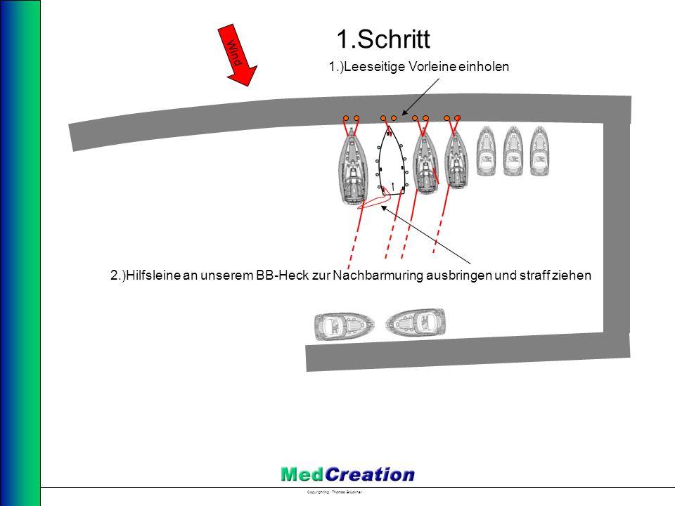 Copyright Ing. Thomas Brückner Wind 1.Schritt 1.)Leeseitige Vorleine einholen 2.)Hilfsleine an unserem BB-Heck zur Nachbarmuring ausbringen und straff