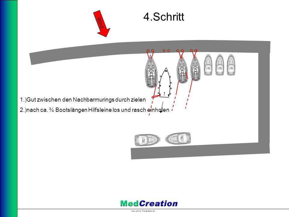 Copyright Ing. Thomas Brückner 1.)Gut zwischen den Nachbarmurings durch zielen 2.)nach ca. ¾ Bootslängen Hilfsleine los und rasch einholen Wind 4.Schr