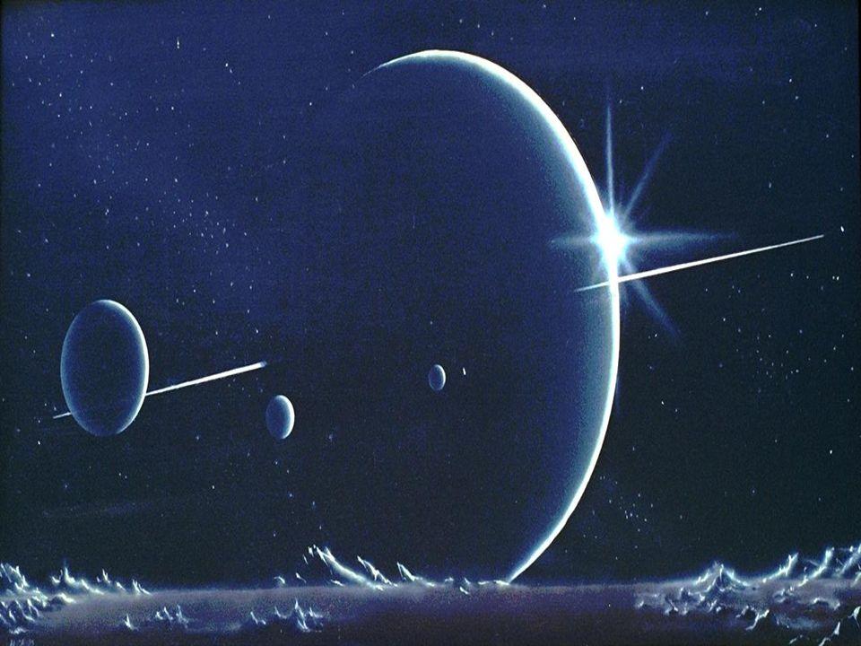 Uranus besitzt ein schwach ausgebildetes Ringsystem mit 13 Ringen. Vom Uranus sind zur Zeit 27 Monde bekannt.