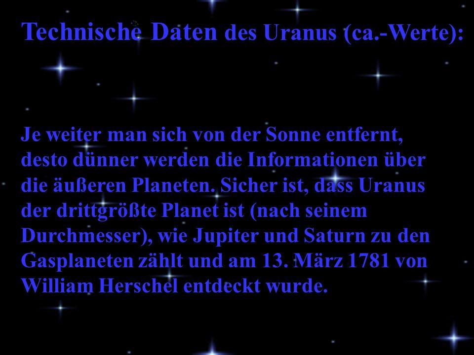 Technische Daten des Uranus (ca.-Werte): Je weiter man sich von der Sonne entfernt, desto dünner werden die Informationen über die äußeren Planeten.