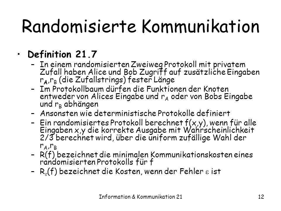 Information & Kommunikation 2112 Randomisierte Kommunikation Definition 21.7 –In einem randomisierten Zweiweg Protokoll mit privatem Zufall haben Alic