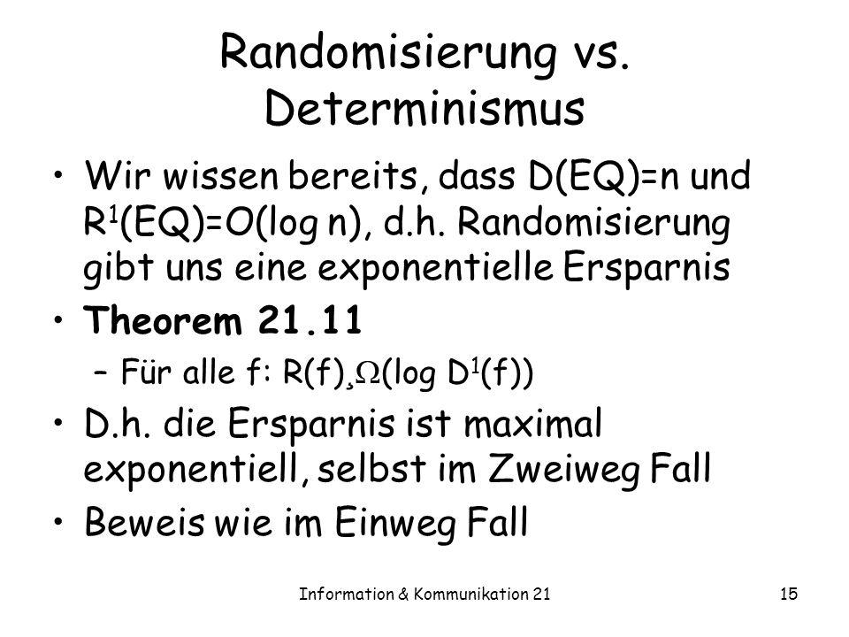 Information & Kommunikation 2115 Randomisierung vs. Determinismus Wir wissen bereits, dass D(EQ)=n und R 1 (EQ)=O(log n), d.h. Randomisierung gibt uns