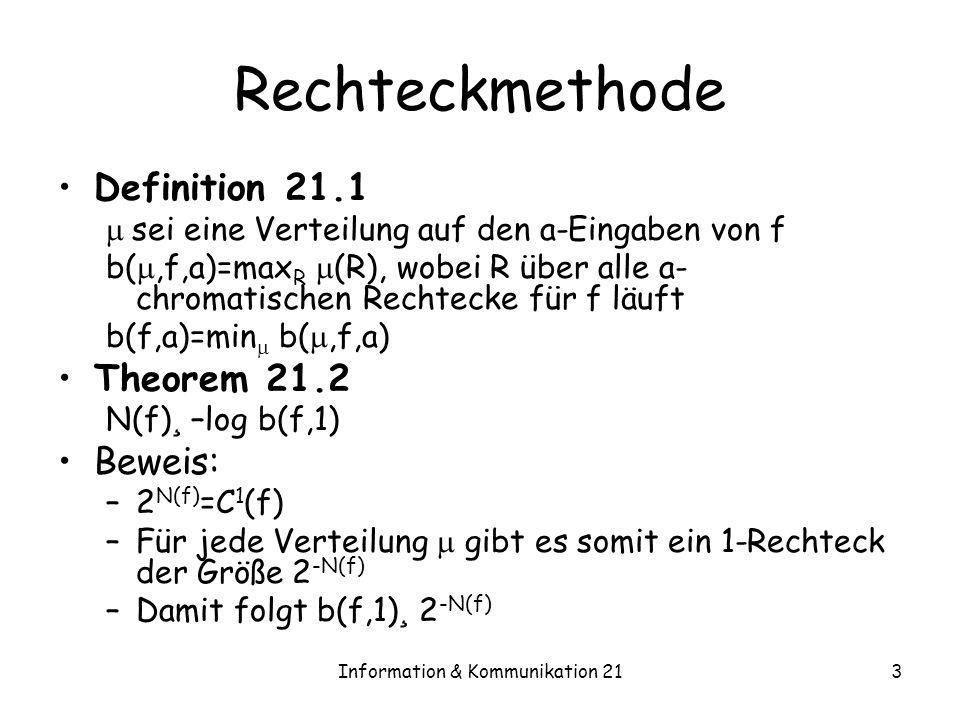 Information & Kommunikation 213 Rechteckmethode Definition 21.1 sei eine Verteilung auf den a-Eingaben von f b(,f,a)=max R (R), wobei R über alle a- c