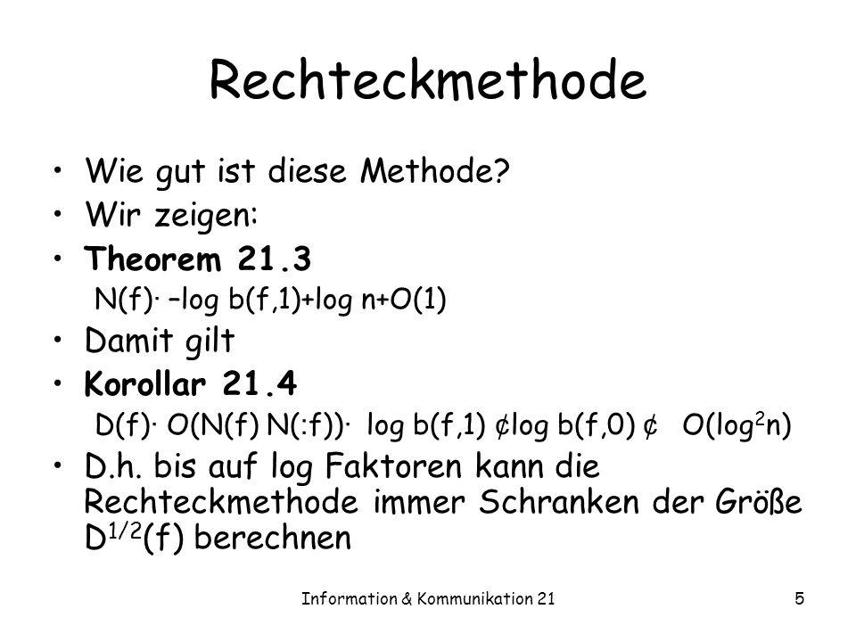 Information & Kommunikation 215 Rechteckmethode Wie gut ist diese Methode? Wir zeigen: Theorem 21.3 N(f) · –log b(f,1)+log n+O(1) Damit gilt Korollar