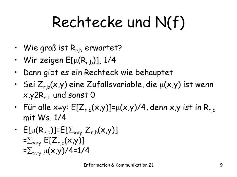 Information & Kommunikation 219 Rechtecke und N(f) Wie groß ist R r,b erwartet? Wir zeigen E[ (R r,b )] ¸ 1/4 Dann gibt es ein Rechteck wie behauptet