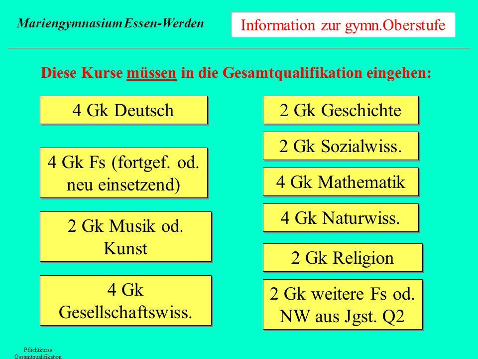 Information zur gymn.Oberstufe Mariengymnasium Essen-Werden Leistungsbewertungen Notensehr gutgutbefr.ausr.schwach ausr.