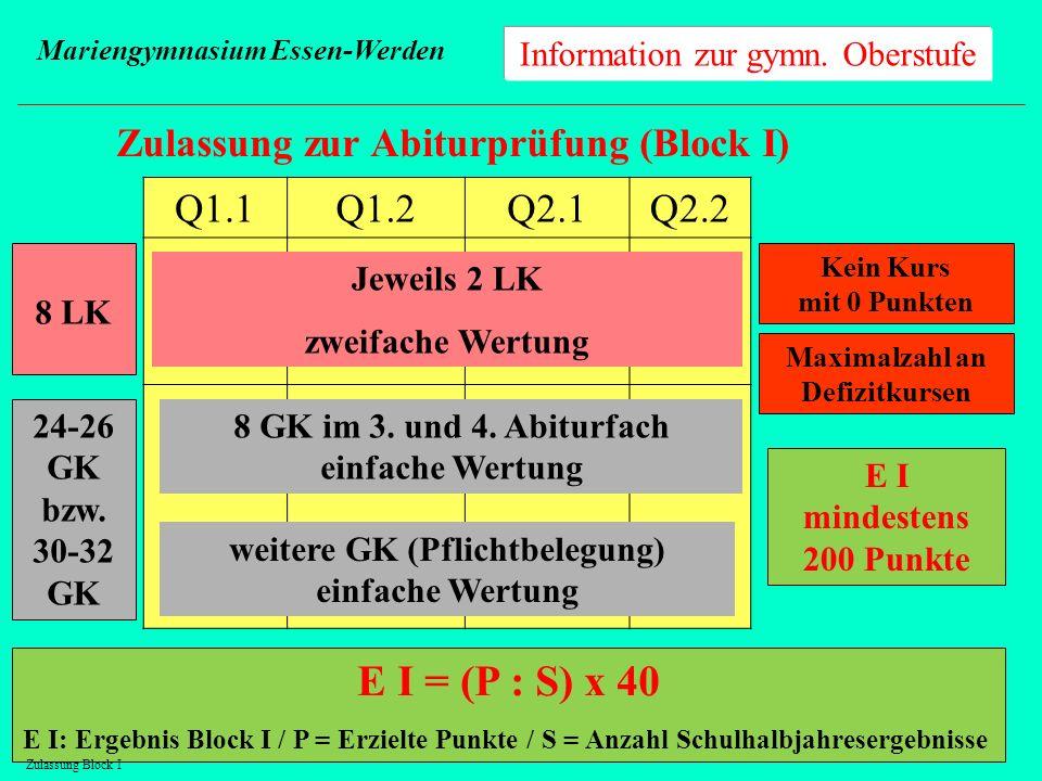 Information zur gymn. Oberstufe Mariengymnasium Essen-Werden Zulassung zur Abiturprüfung (Block I) 8 LK 24-26 GK bzw. 30-32 GK Q1.1Q1.2Q2.1Q2.2 Jeweil
