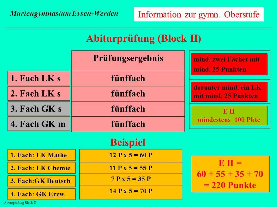 Information zur gymn. Oberstufe Mariengymnasium Essen-Werden Abiturprüfung (Block II) 1. Fach LK s Prüfungsergebnis fünffach 2. Fach LK s 3. Fach GK s