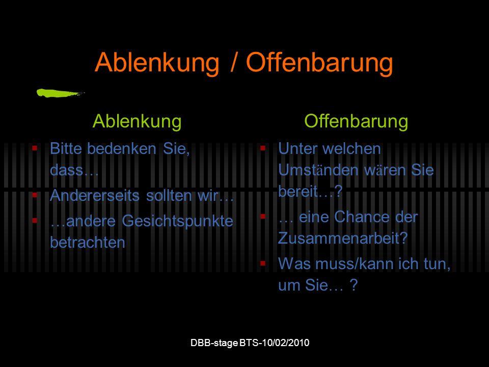 DBB-stage BTS-10/02/2010 Ablenkung / Offenbarung Ablenkung Bitte bedenken Sie, dass … Andererseits sollten wir … … andere Gesichtspunkte betrachten Of