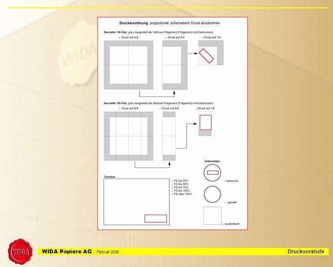 WIDA Papiere AG Februar 2008 Druckvorstufe Datenverarbeitung offene, veränderbare PC Dateien damit flexodruckspezifische Anpassungen möglich sind