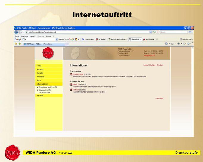 WIDA Papiere AG Februar 2008 Druckvorstufe Diverses