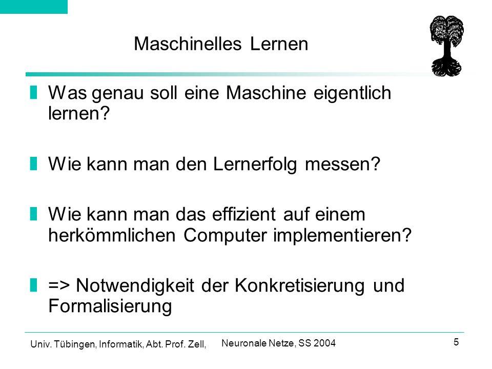Univ.Tübingen, Informatik, Abt. Prof. Zell, Neuronale Netze, SS 2004 26 Überanpassung vs.