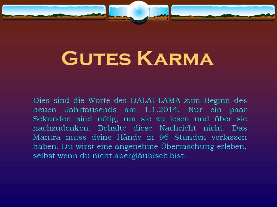 Gutes Karma Dies sind die Worte des DALAI LAMA zum Beginn des neuen Jahrtausends am 1.1.2014.