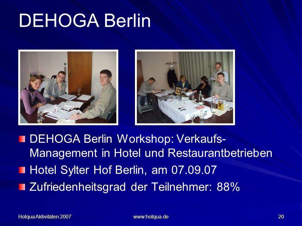 Hotqua Aktivitäten 2007 www.hotqua.de 20 DEHOGA Berlin DEHOGA Berlin Workshop: Verkaufs- Management in Hotel und Restaurantbetrieben Hotel Sylter Hof Berlin, am 07.09.07 Zufriedenheitsgrad der Teilnehmer: 88%