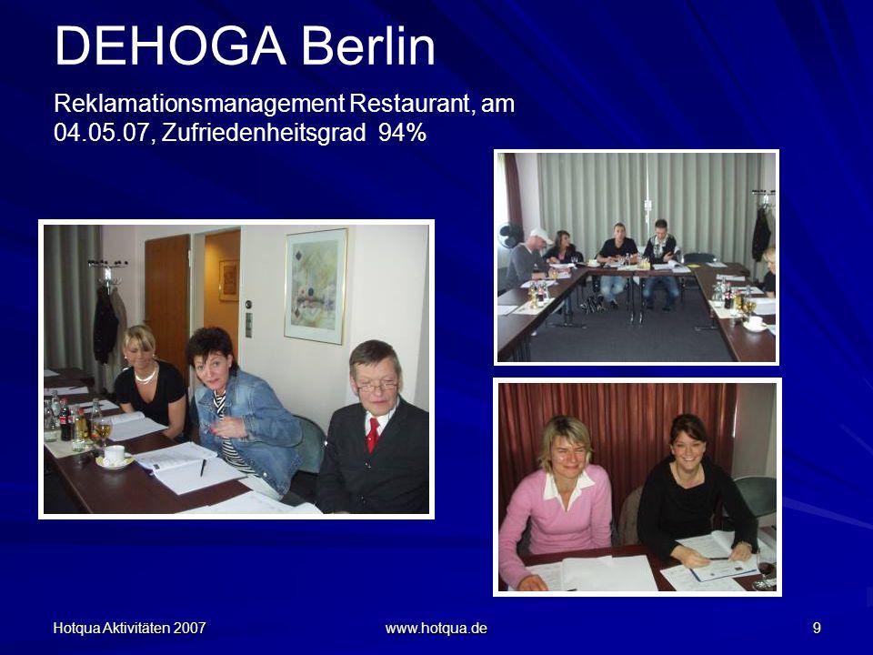 Hotqua Aktivitäten 2007 www.hotqua.de 30 DEHOGA Berlin Workshop Hygiene und Arbeitsabläufe in der Küche nach HACCP, vom 05.11.07, Zufriedenheitsgrad der Teilnehmer: 90% Workshop Housekeeping und Arbeitsabläufe im Hausdamenbereich, vom 05.11.07, Zufriedenheitsgrad der Teilnehmer: 93% Tagungsort: Hotel Sylter Hof Berlin