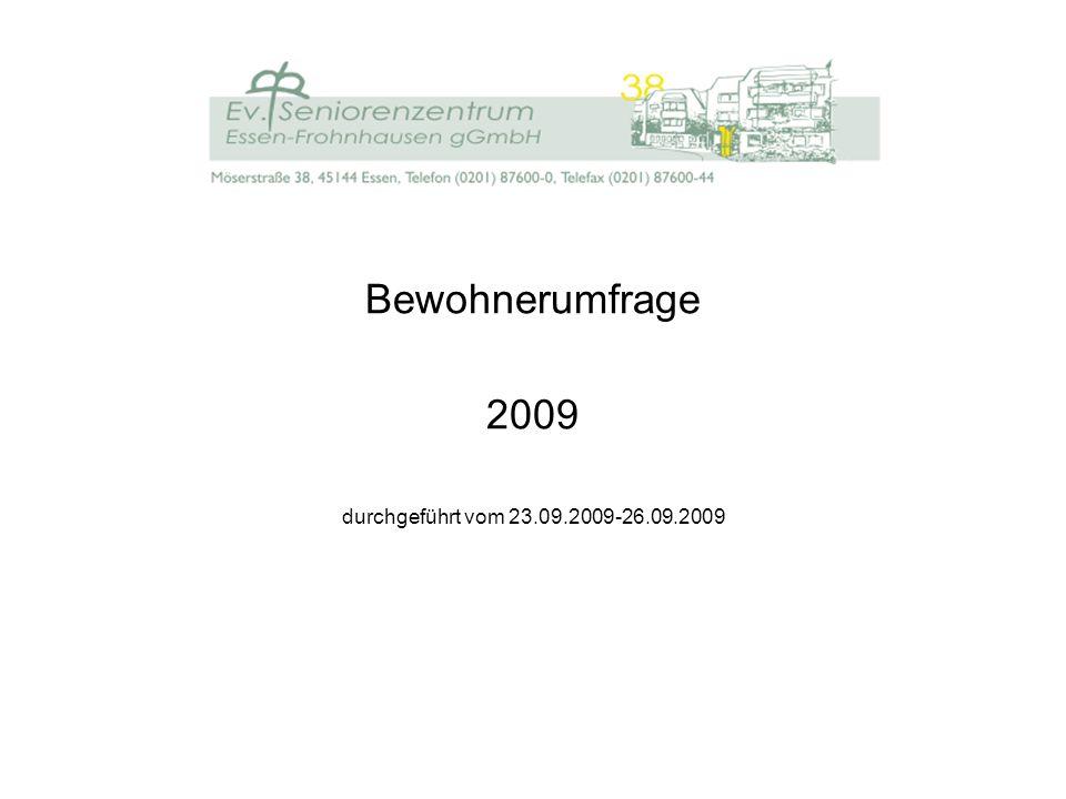 Bewohnerbefragung 2009 im Ev.Seniorenzentrum Essen-Frohnhausen gGmbH Im September 2009 fand im Ev.