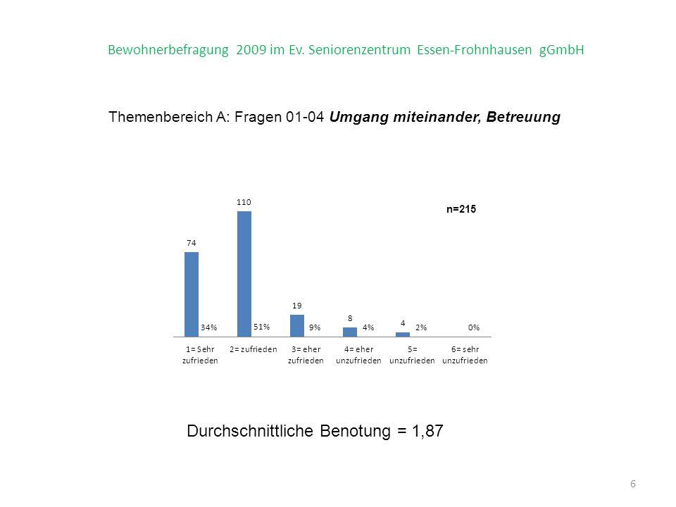 Themenbereich A: Fragen 01-04 Umgang miteinander, Betreuung 6 Bewohnerbefragung 2009 im Ev.