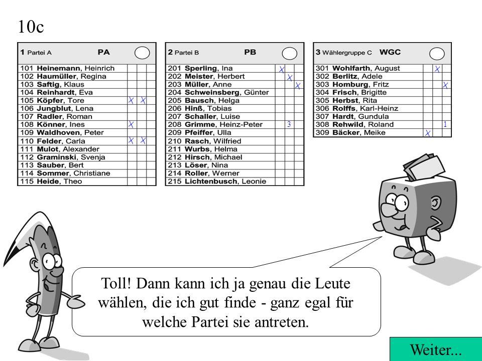 10b 1 Panaschieren heißt, dass Du Deine Stimmen an die Kandidatinnen und Kandidaten aller Parteien und Wählergruppen verteilen kannst. Weiter... 3