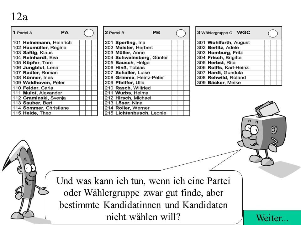 12a Und was kann ich tun, wenn ich eine Partei oder Wählergruppe zwar gut finde, aber bestimmte Kandidatinnen und Kandidaten nicht wählen will.