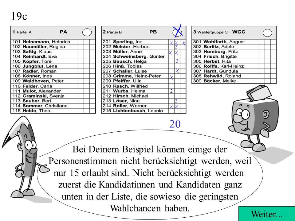 19c Bei Deinem Beispiel können einige der Personenstimmen nicht berücksichtigt werden, weil nur 15 erlaubt sind.
