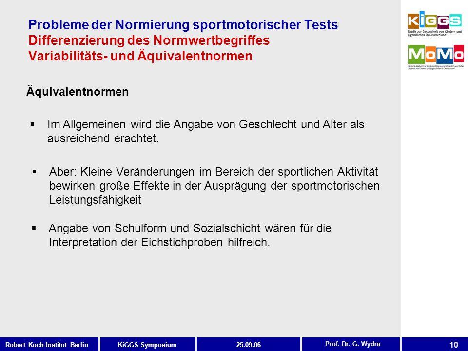 10 KiGGS-SymposiumRobert Koch-Institut Berlin25.09.06 Probleme der Normierung sportmotorischer Tests Differenzierung des Normwertbegriffes Variabilitäts- und Äquivalentnormen Äquivalentnormen Prof.
