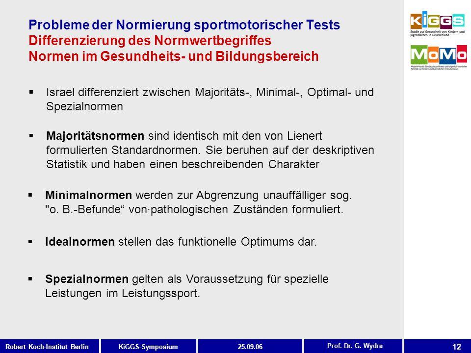 12 KiGGS-SymposiumRobert Koch-Institut Berlin25.09.06 Probleme der Normierung sportmotorischer Tests Differenzierung des Normwertbegriffes Normen im Gesundheits- und Bildungsbereich Israel differenziert zwischen Majoritäts-, Minimal-, Optimal- und Spezialnormen Prof.
