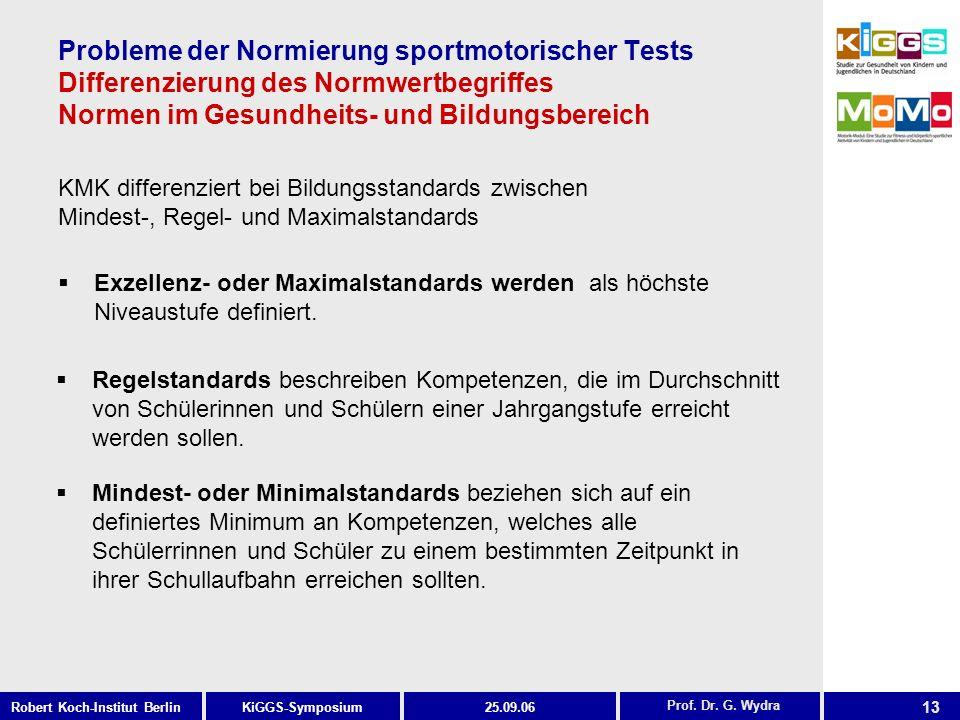 13 KiGGS-SymposiumRobert Koch-Institut Berlin25.09.06 Probleme der Normierung sportmotorischer Tests Differenzierung des Normwertbegriffes Normen im Gesundheits- und Bildungsbereich KMK differenziert bei Bildungsstandards zwischen Mindest-, Regel- und Maximalstandards Prof.