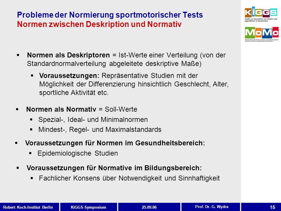 15 KiGGS-SymposiumRobert Koch-Institut Berlin25.09.06 Probleme der Normierung sportmotorischer Tests Normen zwischen Deskription und Normativ Normen als Deskriptoren = Ist-Werte einer Verteilung (von der Standardnormalverteilung abgeleitete deskriptive Maße) Prof.