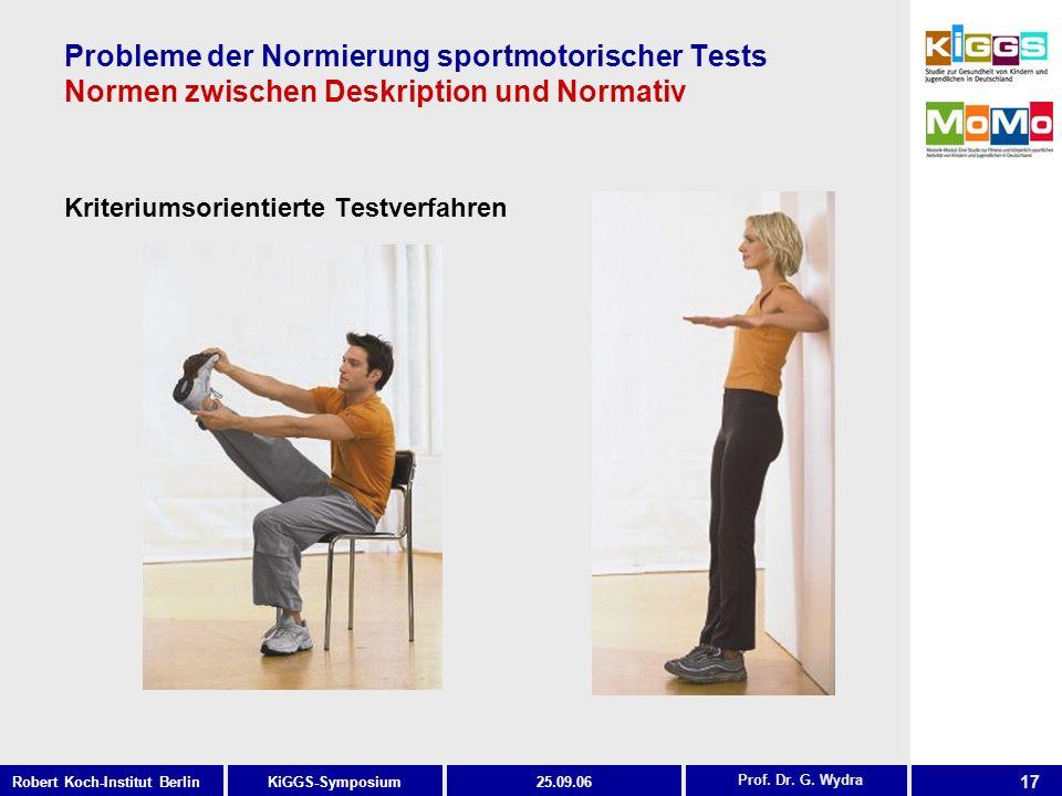 17 KiGGS-SymposiumRobert Koch-Institut Berlin25.09.06 Probleme der Normierung sportmotorischer Tests Normen zwischen Deskription und Normativ Kriteriumsorientierte Testverfahren Prof.