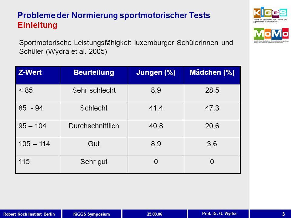 3 KiGGS-SymposiumRobert Koch-Institut Berlin25.09.06 Probleme der Normierung sportmotorischer Tests Einleitung Sportmotorische Leistungsfähigkeit luxemburger Schülerinnen und Schüler (Wydra et al.