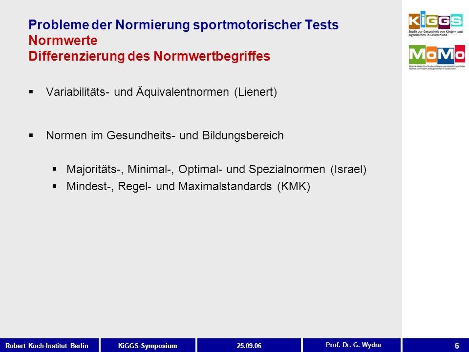6 KiGGS-SymposiumRobert Koch-Institut Berlin25.09.06 Probleme der Normierung sportmotorischer Tests Normwerte Differenzierung des Normwertbegriffes Variabilitäts- und Äquivalentnormen (Lienert) Prof.