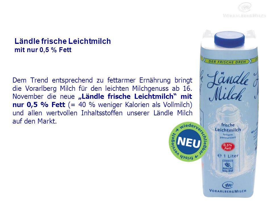 Ländle frische Leichtmilch mit nur 0,5 % Fett Dem Trend entsprechend zu fettarmer Ernährung bringt die Vorarlberg Milch für den leichten Milchgenuss ab 16.