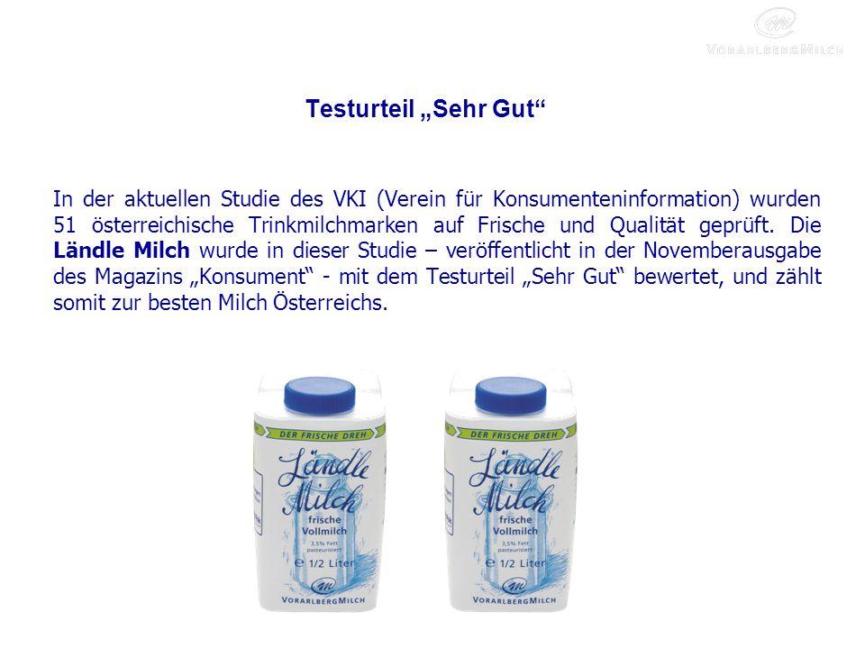 Testurteil Sehr Gut In der aktuellen Studie des VKI (Verein für Konsumenteninformation) wurden 51 österreichische Trinkmilchmarken auf Frische und Qualität geprüft.
