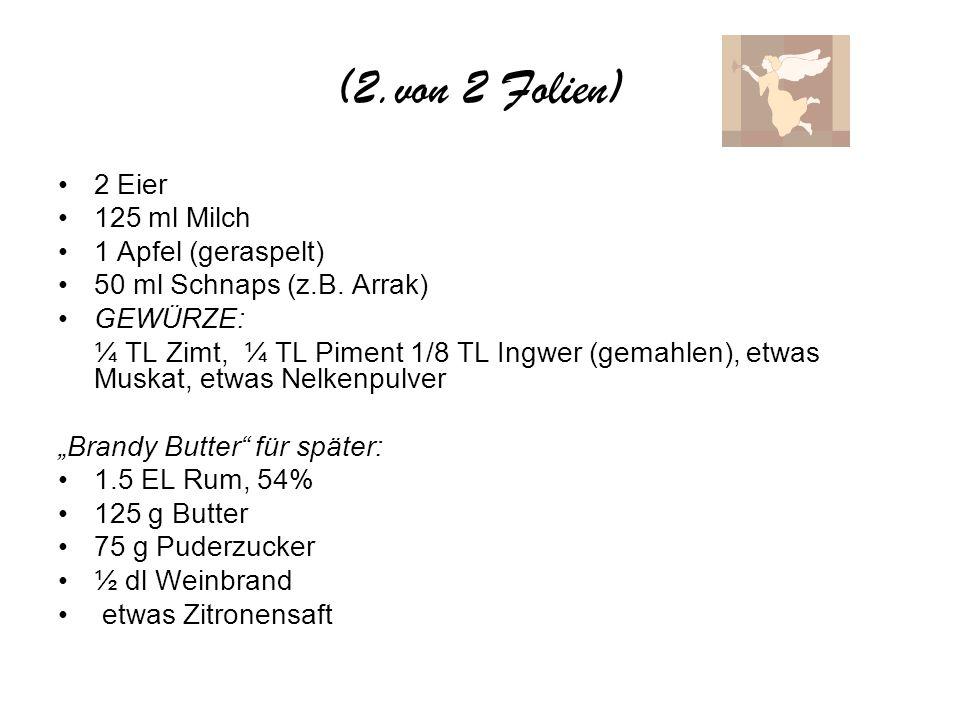 (2.von 2 Folien) 2 Eier 125 ml Milch 1 Apfel (geraspelt) 50 ml Schnaps (z.B. Arrak) GEWÜRZE: ¼ TL Zimt, ¼ TL Piment 1/8 TL Ingwer (gemahlen), etwas Mu