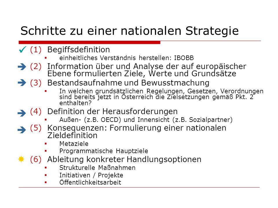 Schritte zu einer nationalen Strategie (1)Begiffsdefinition einheitliches Verständnis herstellen: IBOBB (2)Information über und Analyse der auf europäischer Ebene formulierten Ziele, Werte und Grundsätze (3)Bestandsaufnahme und Bewusstmachung In welchen grundsätzlichen Regelungen, Gesetzen, Verordnungen sind bereits jetzt in Österreich die Zielsetzungen gemäß Pkt.