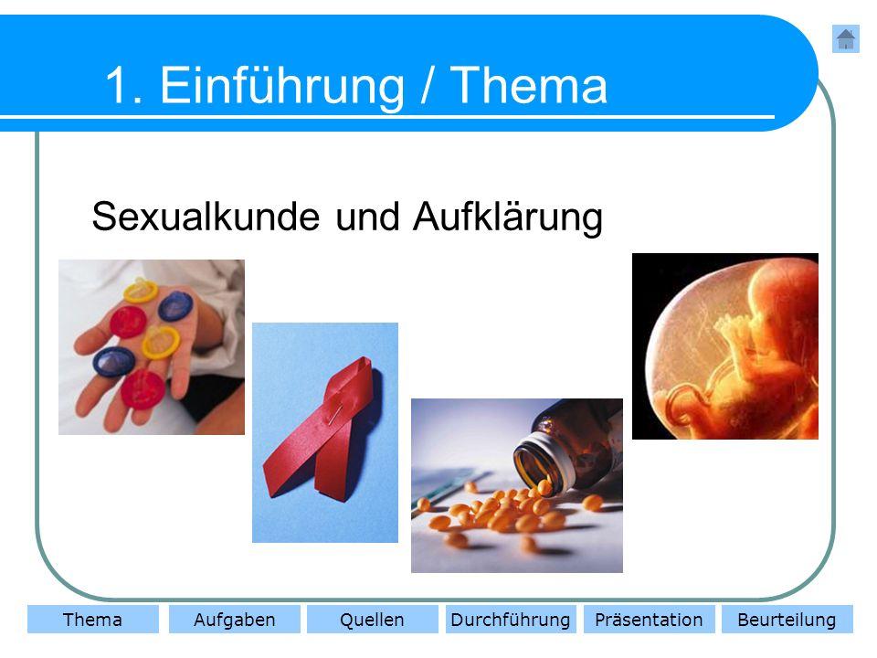ThemaAufgabenQuellenDurchführungBeurteilungPräsentation 2.