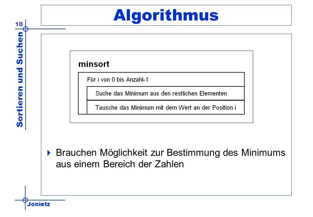 Jonietz Sortieren und Suchen 10 Algorithmus Brauchen Möglichkeit zur Bestimmung des Minimums aus einem Bereich der Zahlen
