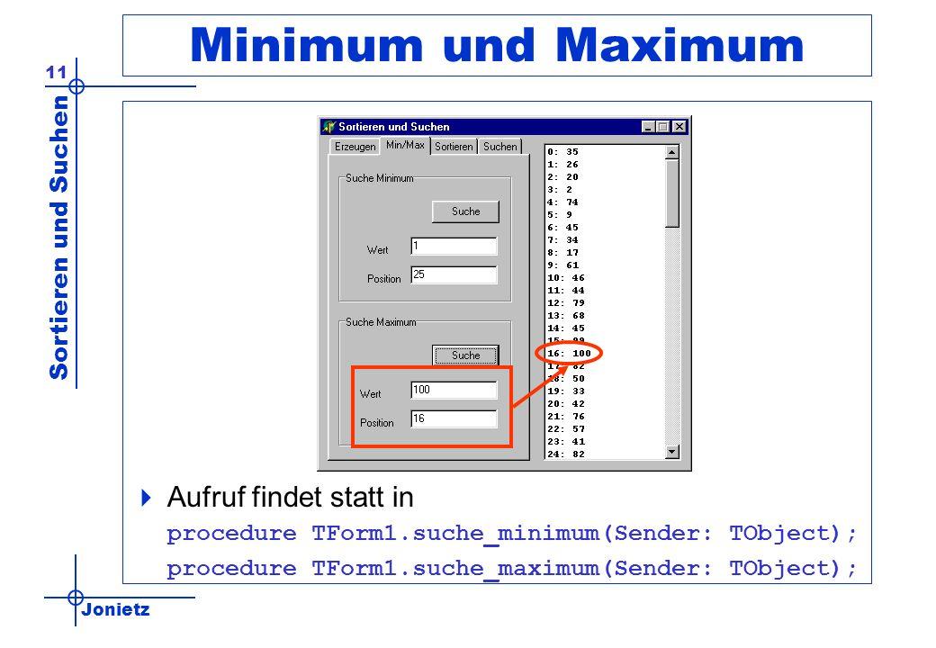 Jonietz Sortieren und Suchen 11 Minimum und Maximum Aufruf findet statt in procedure TForm1.suche_minimum(Sender: TObject); procedure TForm1.suche_max