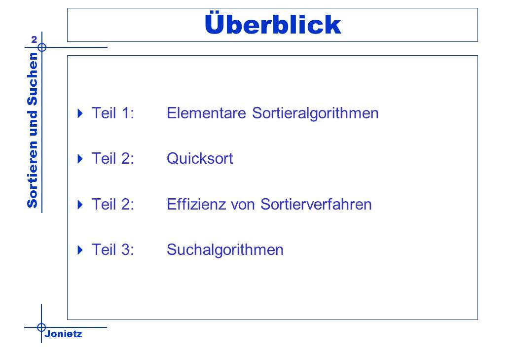 Jonietz Sortieren und Suchen 2 Überblick Teil 1:Elementare Sortieralgorithmen Teil 2:Quicksort Teil 2:Effizienz von Sortierverfahren Teil 3:Suchalgori