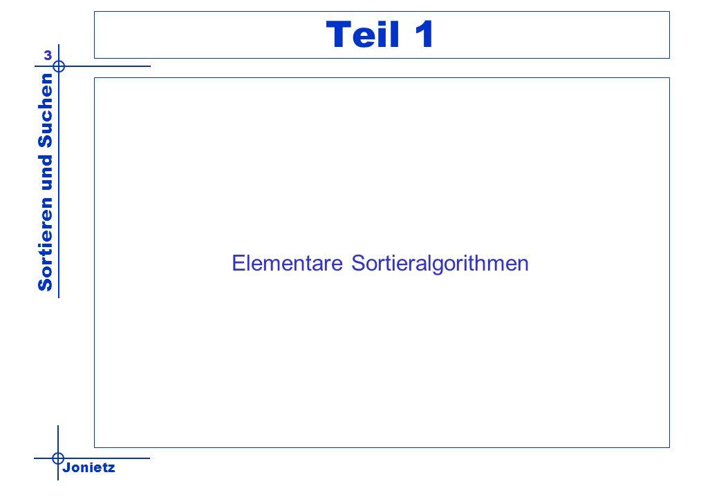 Jonietz Sortieren und Suchen 54 Aufwand bubblesort Vergleichsoperationen (worst case) –beim 1.