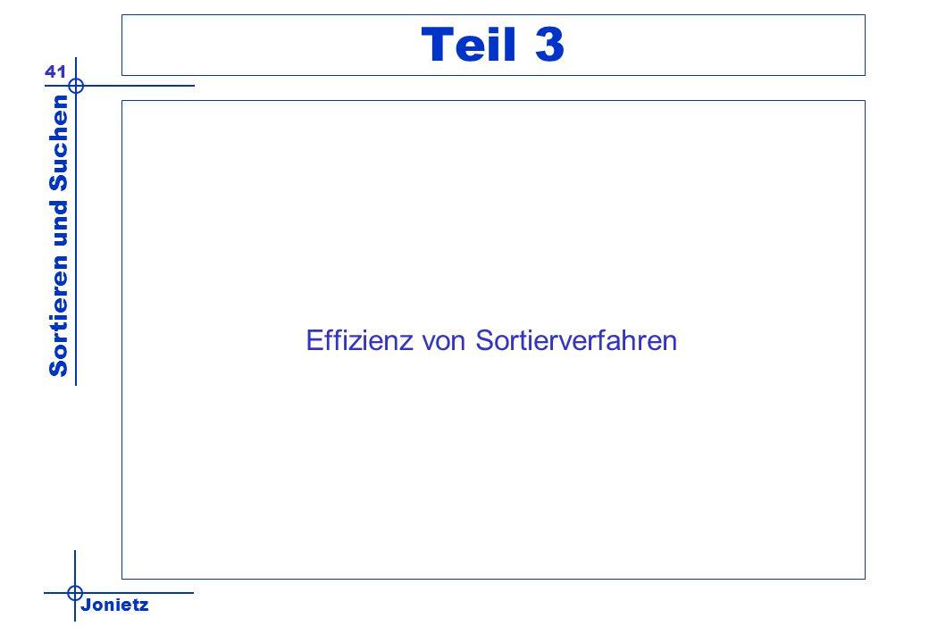 Jonietz Sortieren und Suchen 41 Teil 3 Effizienz von Sortierverfahren