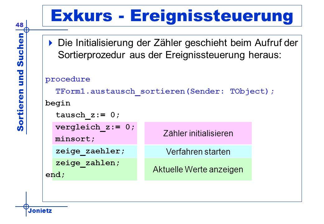 Jonietz Sortieren und Suchen 48 Exkurs - Ereignissteuerung Die Initialisierung der Zähler geschieht beim Aufruf der Sortierprozedur aus der Ereignisst