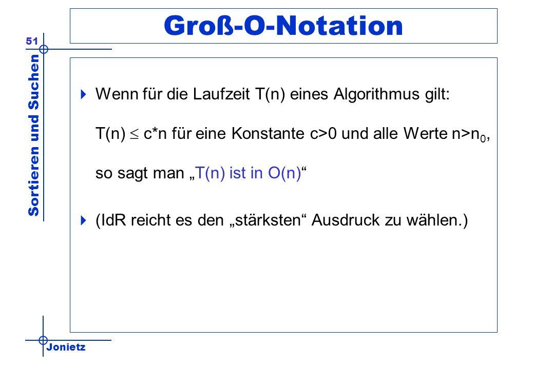 Jonietz Sortieren und Suchen 51 Groß-O-Notation Wenn für die Laufzeit T(n) eines Algorithmus gilt: T(n) c*n für eine Konstante c>0 und alle Werte n>n
